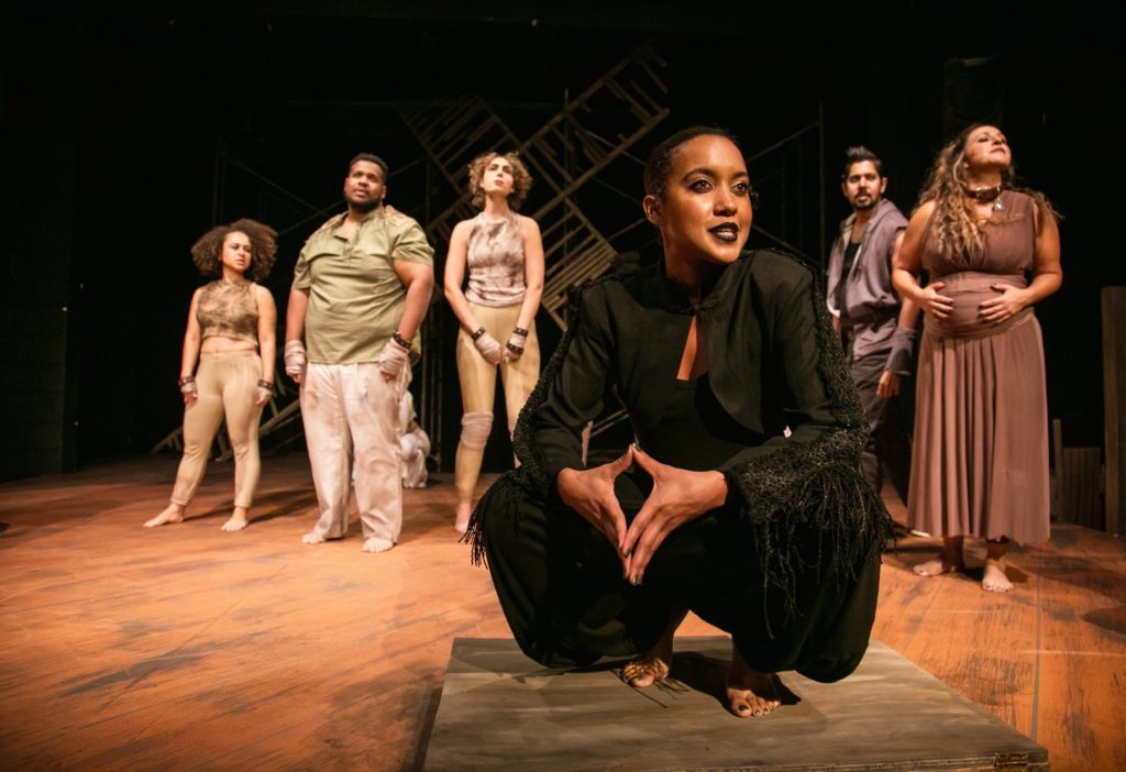 (L-R) Tierra Allen, Marlon Richardson, Molly O'Brien, Dezi Solèy, Dean Koya and Stephanie Prentice in TheatreFIRST's THE FARM. Photo by Cheshire Isaacs.