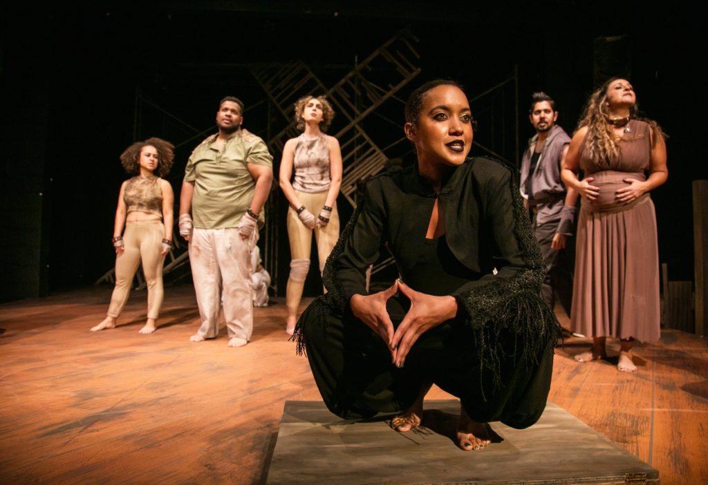 (L-R) Tierra Allen, Marlon Richardson, Molly O'Brien, Dezi Solèy, Dean Koya and Stephanie Prentice in TheatreFIRST's THE FARM. Photo by Cheshire Isaacs.