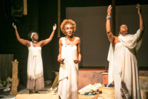 (L-R) Jeunée Simon, Jasmine Williams and Awele in WAAFRIKA 123. Photo: Cheshire Isaacs.